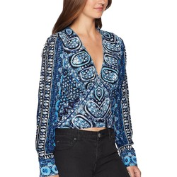 Free People Blue Wild And Free Blouse - Thumbnail