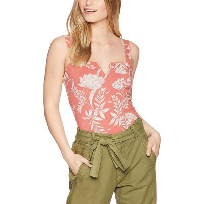 Free People - Free People Coral Pippa V-Wire Printed Bodysuit