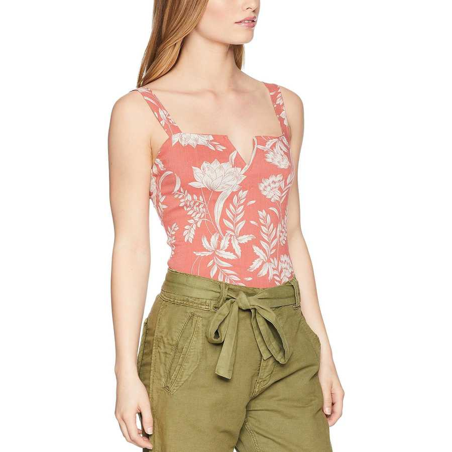 Free People Coral Pippa V-Wire Printed Bodysuit