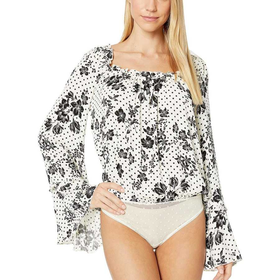 Free People Ivory Combo One On One Date Bodysuit