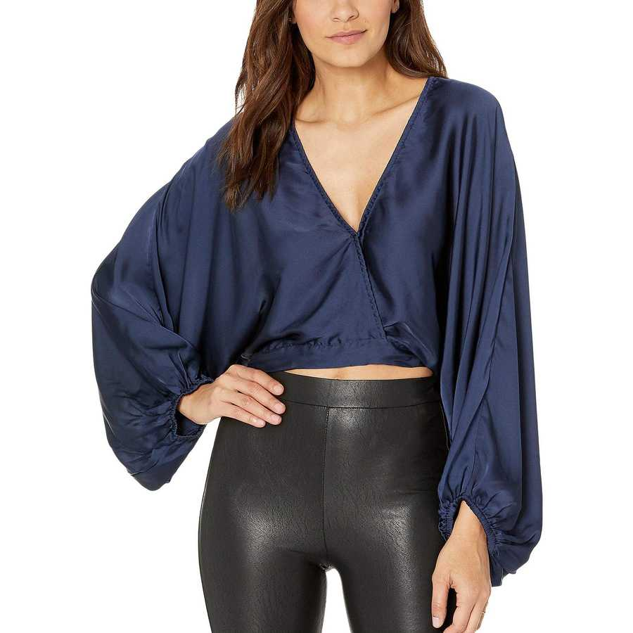 Free People Navy Midnight Vibes Blouse