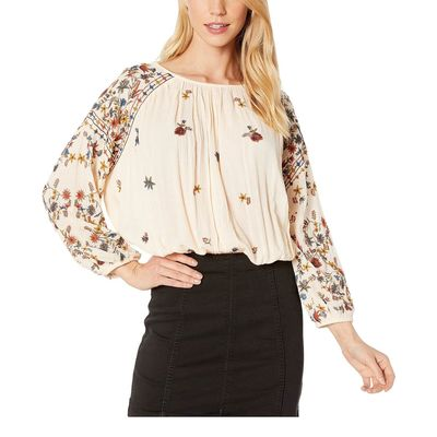 Free People - Free People Neutral Wild Flowers Blouse