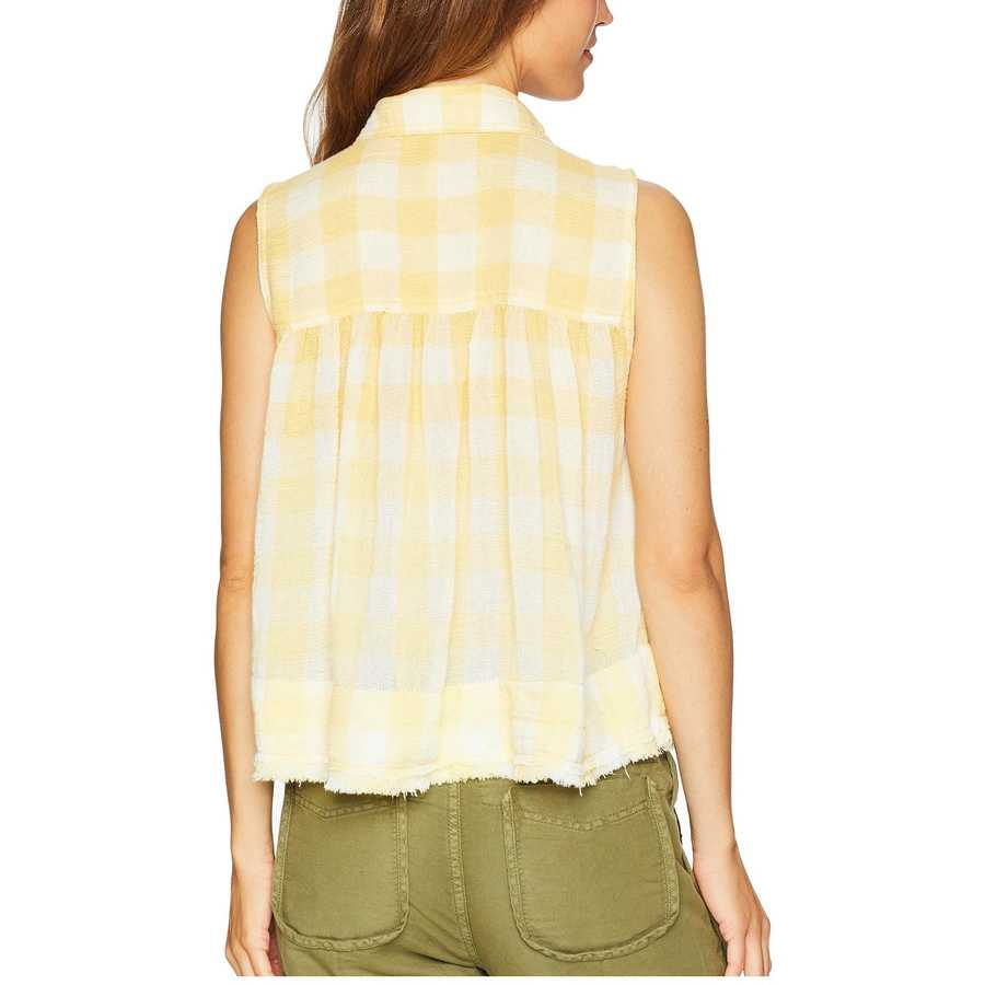 Free People Yellow Hey There Sunrise Button Down