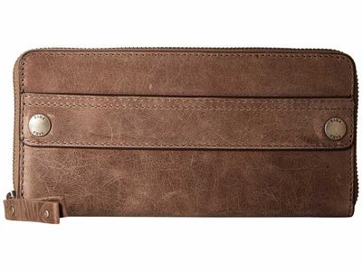 Frye - Frye Grey Smooth Pull Up Melissa Zip Wallet 2 Checkbook Wallet