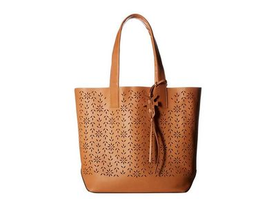 Frye - Frye Light Tan Oiled Veg Carson Floral Perf Tote Handbag