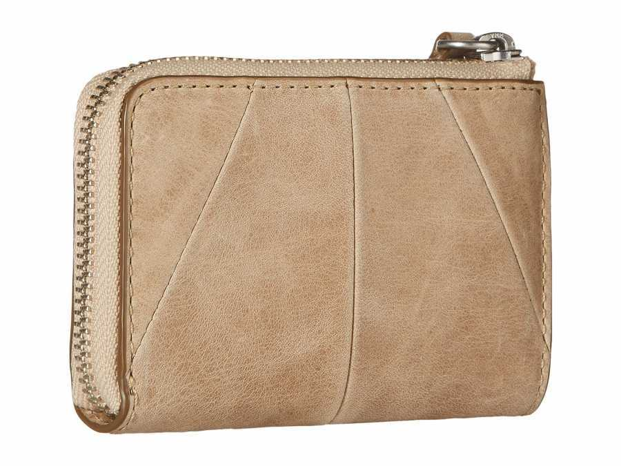Frye Sand Smooth Pull Up Jacqui Small L Zip Wallet Coin Card Case