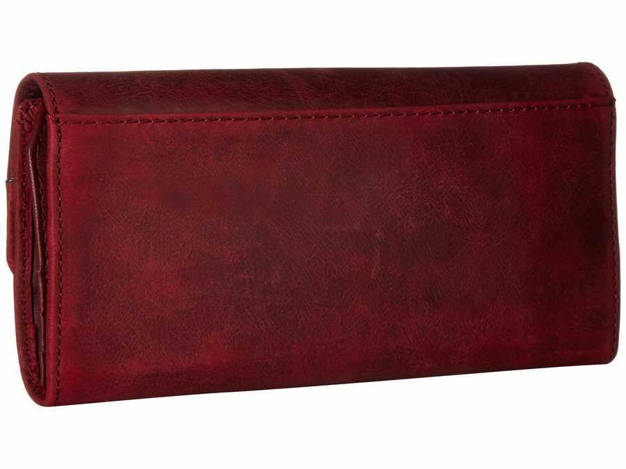Frye Sangria Smooth Pull Up Melissa Snap Wallet Checkbook Wallet