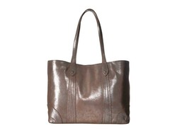 Frye Silver Multi Distressed Metallic Melissa Shopper Tote Handbag - Thumbnail