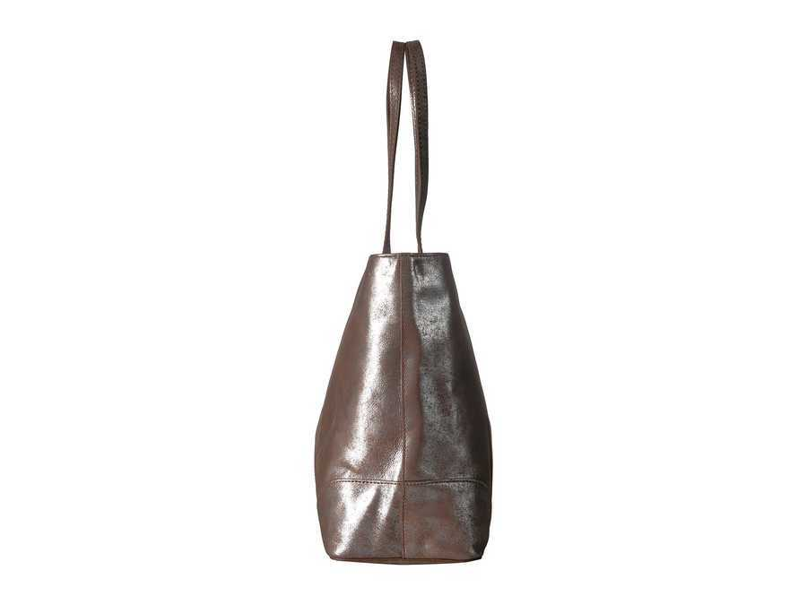 Frye Silver Multi Distressed Metallic Melissa Shopper Tote Handbag