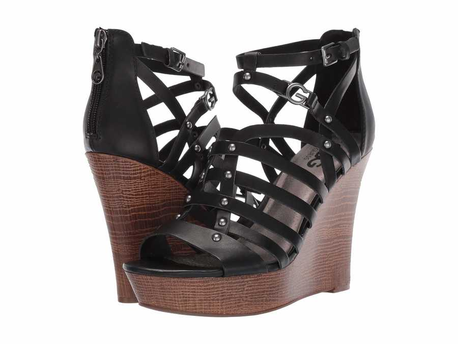 G By Guess Women Black Dezzie Heeled Sandals