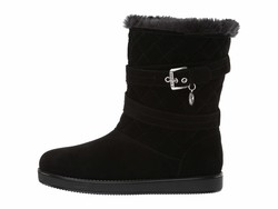 G By Guess Women Black Fabric Babez Shearling Style Boots - Thumbnail