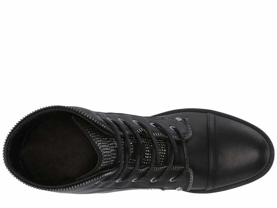 G By Guess Women Black Martel Lace Up Boots