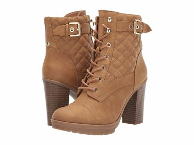 G By Guess - G By Guess Women Camel Gift Lace Up Boots