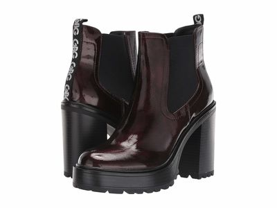 G By Guess - G By Guess Women Cranberry/Black Starly Ankle Bootsbooties