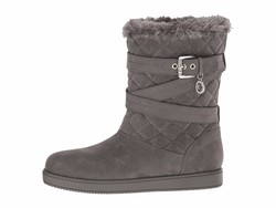 G By Guess Women Grey Fabric Babez Shearling Style Boots - Thumbnail