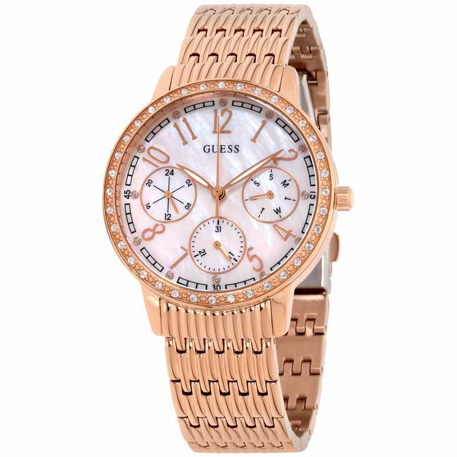 Guess Lattice Mother Of Pearl Dial Stainless Steel Ladies Watch W1086L2