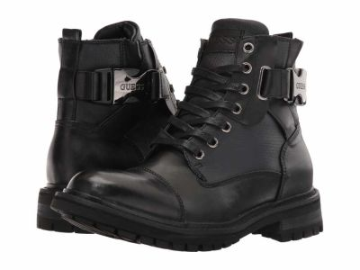 Guess - GUESS Men's Black Dark Grey Rand Lace Up Boots