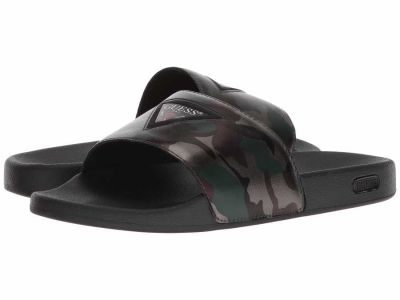 Guess - GUESS Men's Pewter Synthetic Isaac Flat Sandals