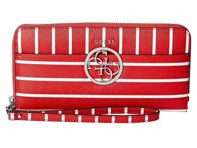 Guess - Guess Red Stripe Kamryn Slg Large Zip Around Clutch Bag