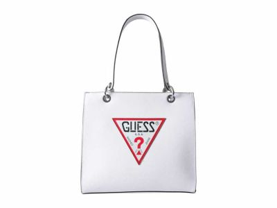 Guess - GUESS White Varsity Pop Shopper Tote Handbag
