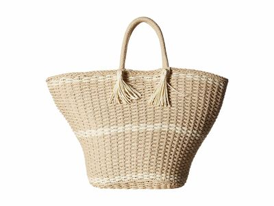 Hat Attack - Hat Attack Natural Large Soft Wicker Weave Tote Handbag