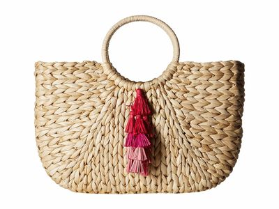 Hat Attack - Hat Attack Natural/Pinks Round Handle Tote Handbag