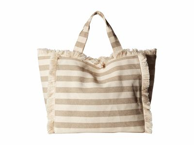 Hat Attack - Hat Attack Neutral Stripe Fringed Canvas Tote Handbag