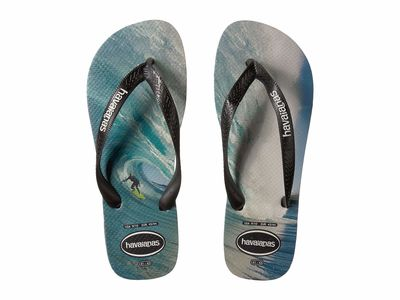 Havaianas - Havaianas Men Black/Blue Top Photoprint Sandal Flip Flops