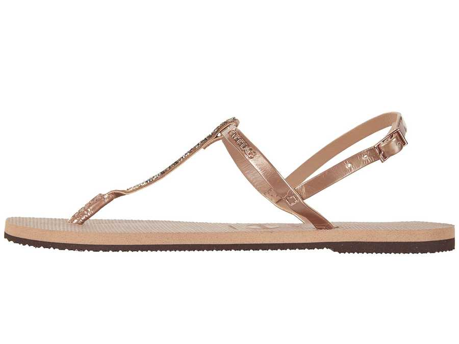 Havaianas Women Rose Gold You Riviera Crystal Sandals Flat Sandals