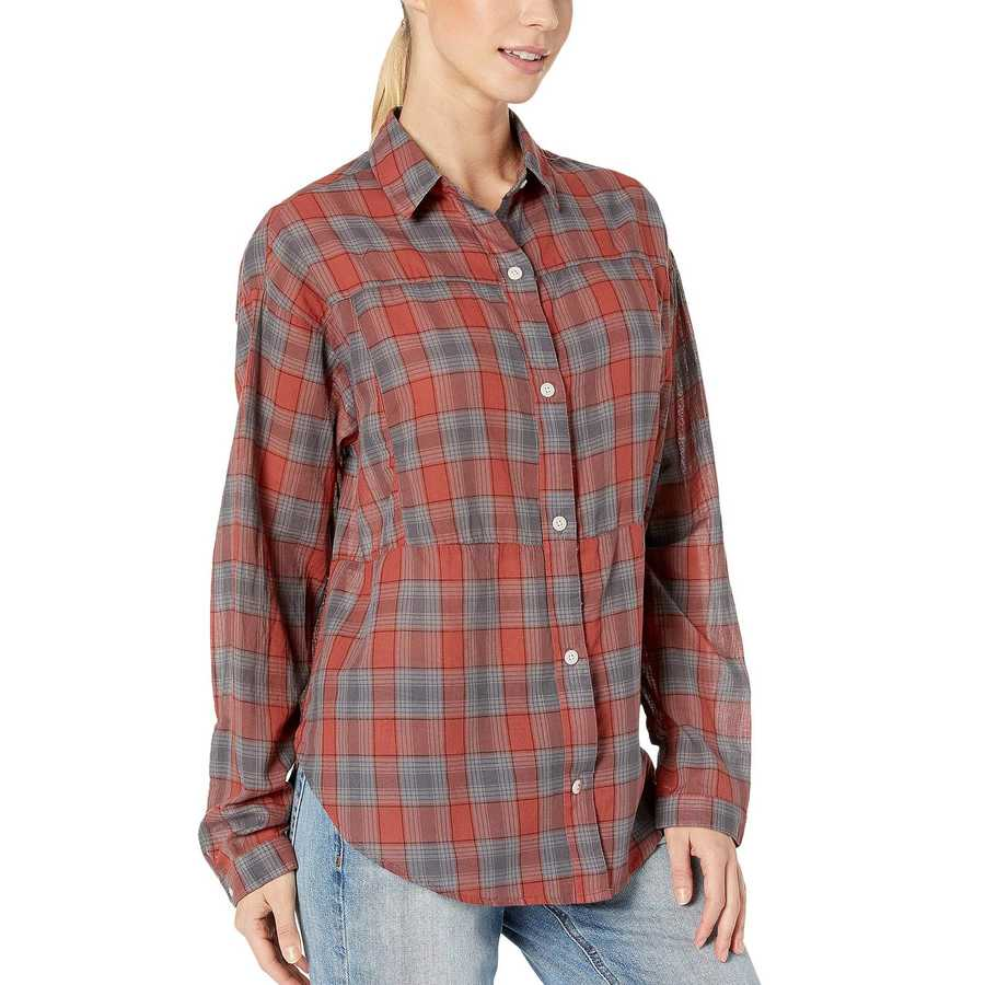 Hurley Dusty Peach Wilson Plaid Dolman Long Sleeve