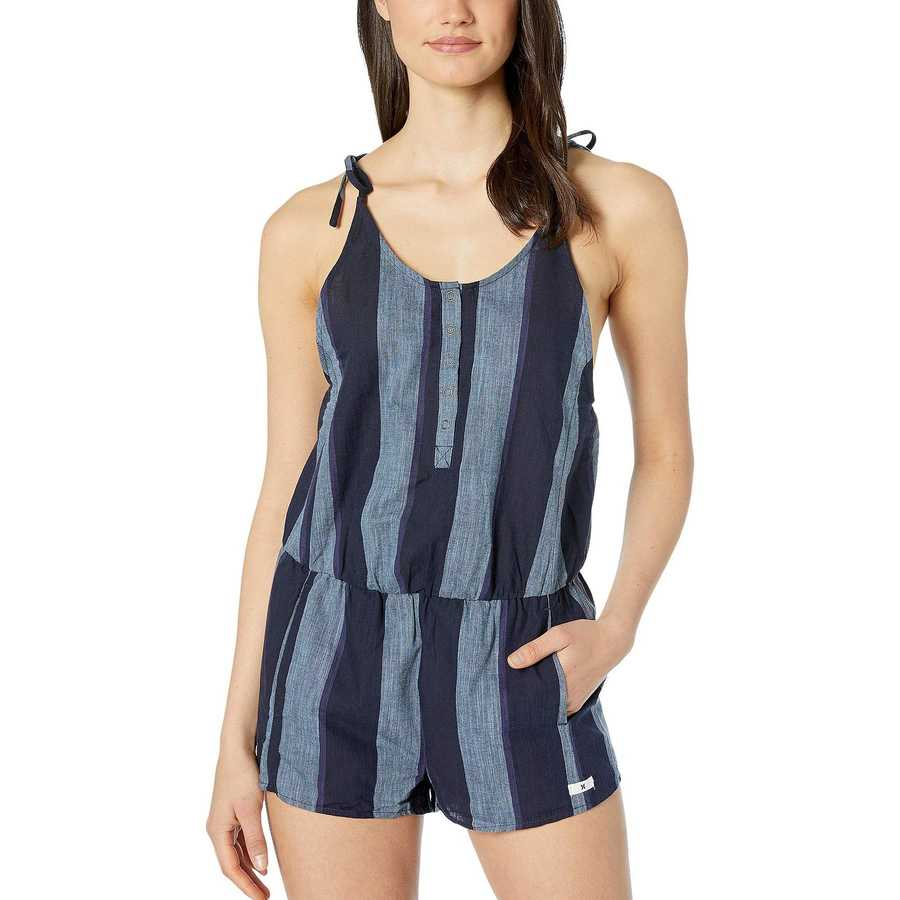 Hurley Midnight Navy Stripe Tie Romper