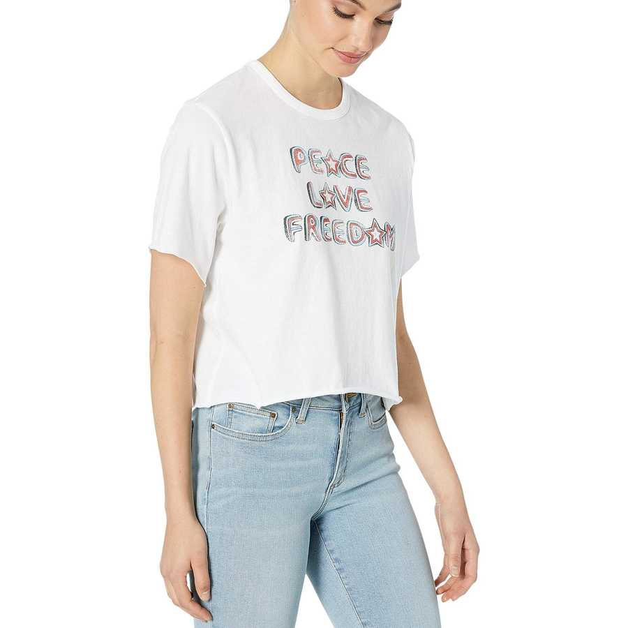 Hurley White Love Freedom Crop Crew Short Sleeve
