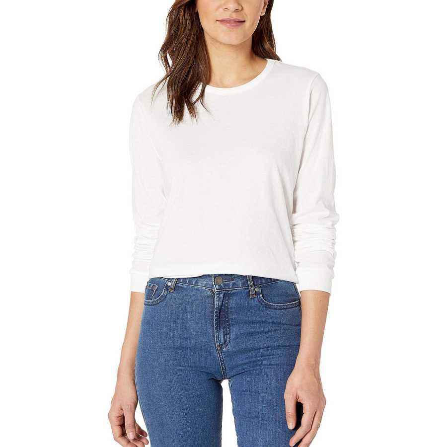 Hurley White Solid Perfect Long Sleeve