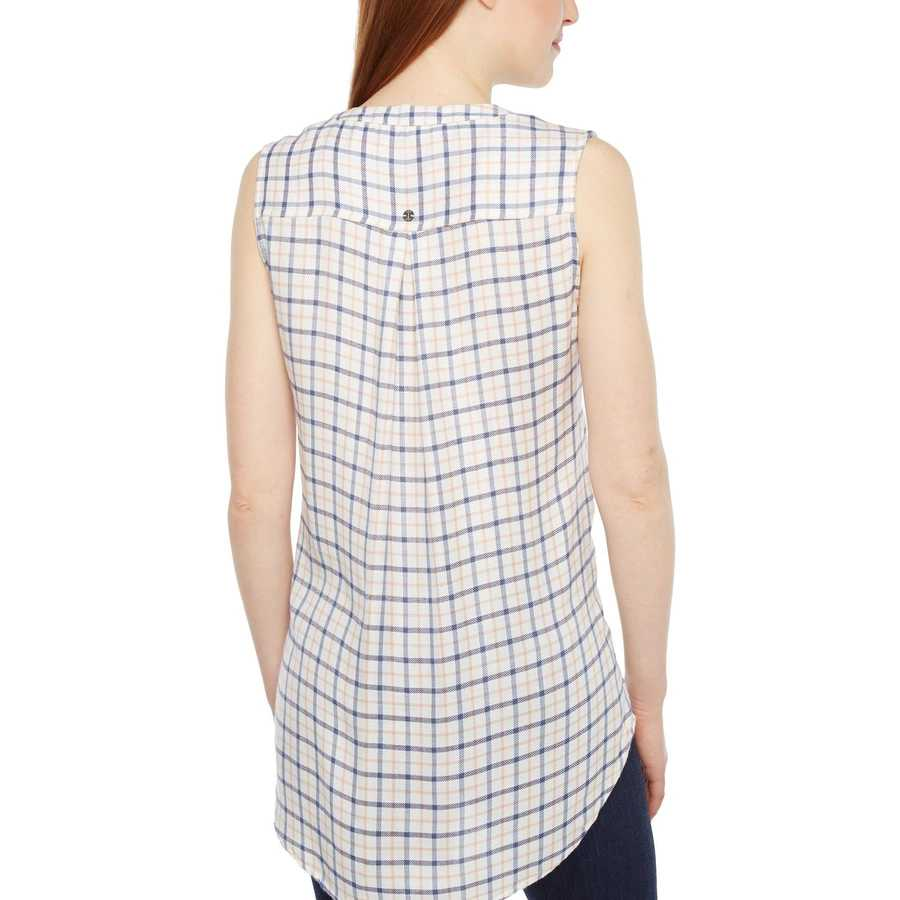 Jag Jeans Ivory Plaid Aspen Sleeveless Top İn Rayon Plaid