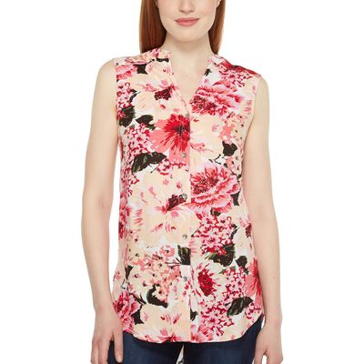 Jag Jeans - Jag Jeans Pink Poppies Aspen Sleeveless Top İn Rayon Print
