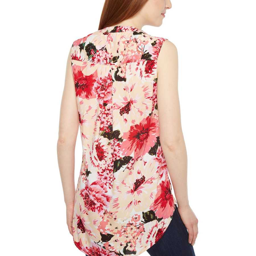 Jag Jeans Pink Poppies Aspen Sleeveless Top İn Rayon Print