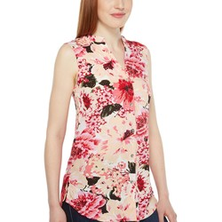 Jag Jeans Pink Poppies Aspen Sleeveless Top İn Rayon Print - Thumbnail