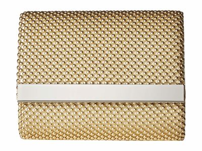 Jessica Mcclintock - Jessica Mcclintock Light Gold Katie Bar Flap Clutch Bag