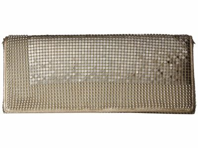 Jessica Mcclintock - Jessica Mcclintock Light Gold Metal Mesh Flap Clutch Bag