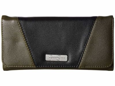 Jessica Simpson - Jessica Simpson Army Green/Black Agnes Flap Checkbook Checkbook Wallet