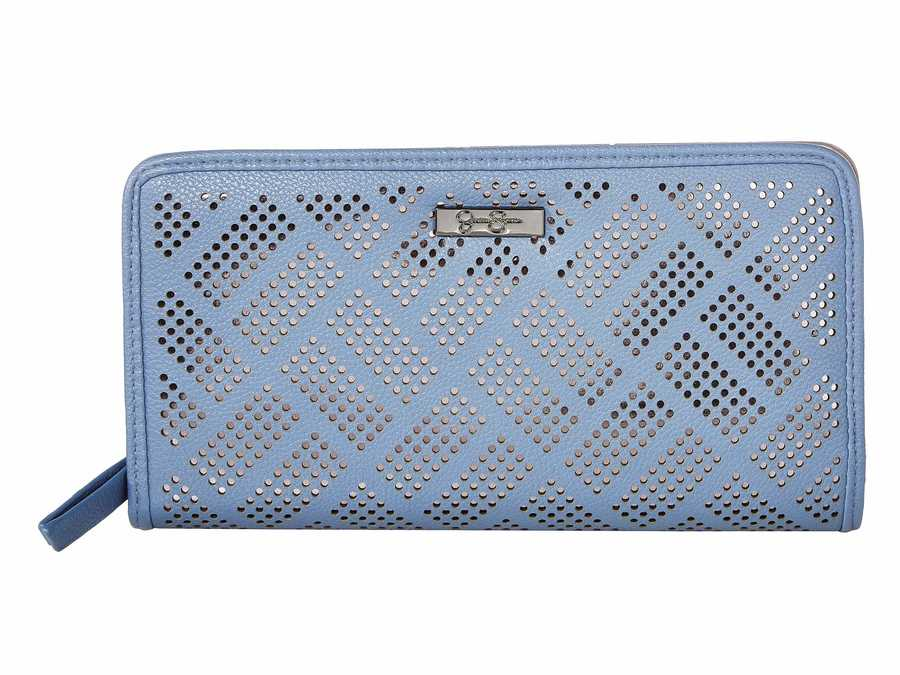 Jessica Simpson Carolina Blue Ronette Single Zip Around Checkbook Wallet