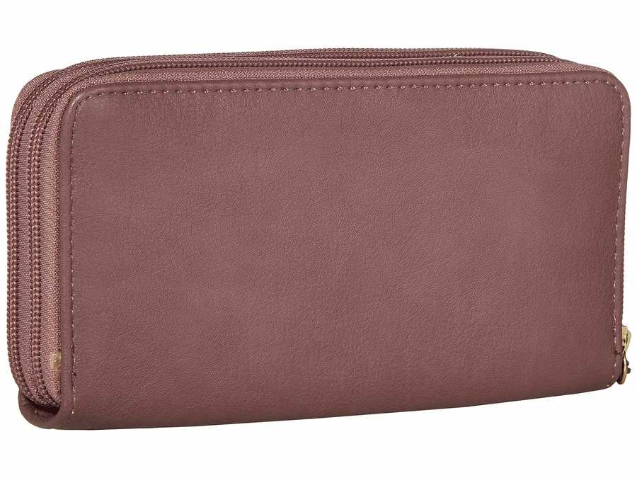 Jessica Simpson Dusty Plum Tashani Double Zip Around Checkbook Wallet