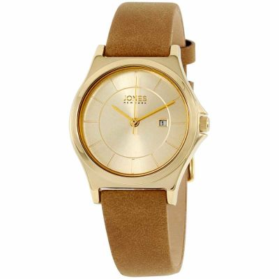 Jones New York - Jones New York Gold Dial Leather Strap Ladies Watch 11683G528-822