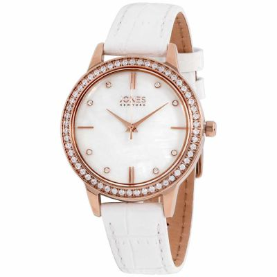 Jones New York - Jones New York MOP Dial Leather Strap Ladies Watch 11536R528-001