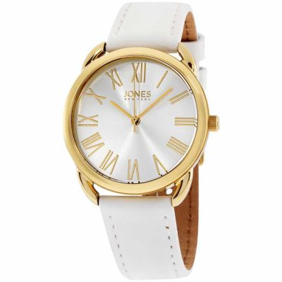 Jones New York - Jones New York White Dial Leather Strap Ladies Watch 11596G528-001