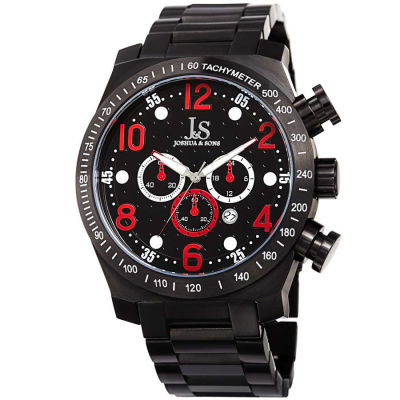 Joshua & Sons - Joshua Sons Men's Chronograph Solid Stainless Steel Bracelet Watch JX127RD
