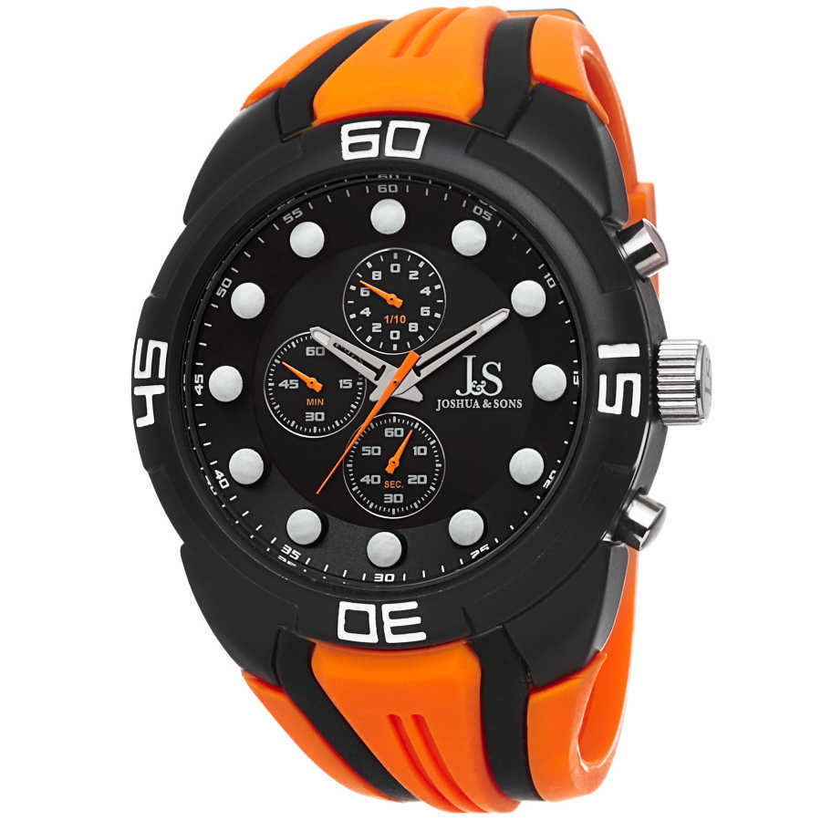 Joshua Sons Men's Chronograph Sports Silicone Strap Watch JS61OR