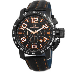Joshua Sons Men's Chronograph Tachymeter Leather Strap Watch JS49OR - Thumbnail