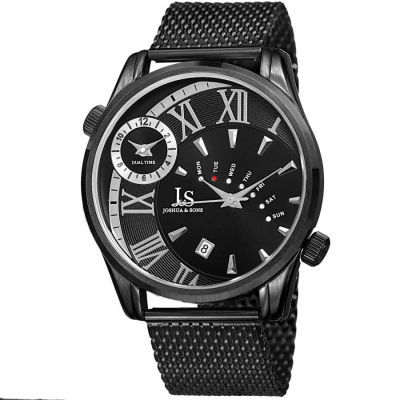Joshua & Sons - Joshua Sons Men's dual time black mesh bracelet watch with a black dial, silver-tone markings JX112BK