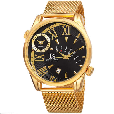 Joshua & Sons - Joshua Sons Men's dual time gold-tone mesh bracelet watch JX112YGB